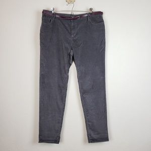 Gray pants with belt